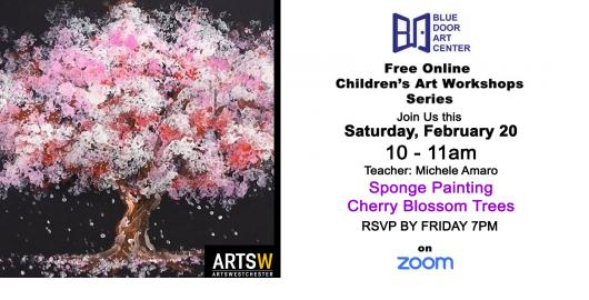 Sponge Painting Cherry Blossom Trees
