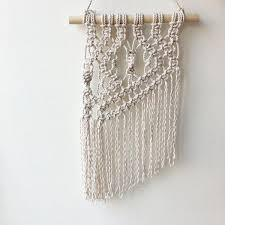Macramé is a form of textile produced using knotting (rather than weaving or knitting) techniques.